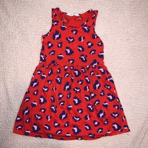 Red pink and navy cheetah dress